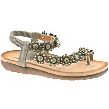 LADIES BOULEVARD PEWTER DIAMANTE FLOWER TOE POST ELASTICATED SANDALS L975FS KD