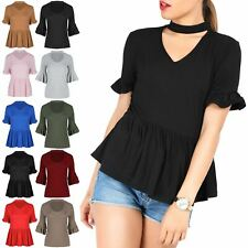 Ladies Choker V-Neck Plunge Peplum Ruffle Frill Short Sleeve Womens T Shirt Top