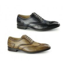 Azor CRESTO Mens Leather Lace Up Formal Round Toe Cushioned Oxford Brogues Shoes