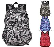 LADIES RUCKSACK RETRO OXFORD CAMOUFLAGE TRAVEL BACKPACK ZIP SCHOOL HIKING BAG