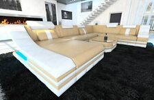 ledersofagarnitur Sofa Turino XXL with LED Lighting Leather Couch Sand Beige