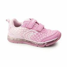GEOX JR ANDROID Girls Dual Touch Fasten Light Up School Trainers Fuchsia/Pink