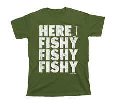 Here Fishy Fishy Fishy T-Shirt Uomo Donna Unisex Fit Funny Fishing