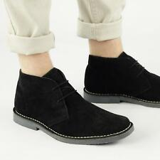 Roamers Mens Suede Leather 2 Eyelet Lace Up Chisel Toe Casual Desert Boots Black