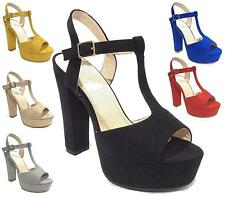 WOMENS LADIES ANKLE BUCKLE STRAP PLATFORM CHUNKY BLOCK HEEL SANDALS SHOES