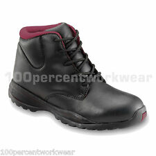 PSF 339SM Work Safety Black Ladies Womens Leather Boots Shoes Steel Toe Cap Sole