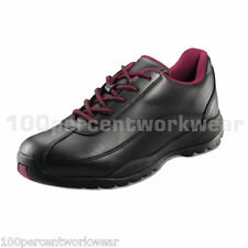PSF 338SM Work Safety Black Ladies Womens Leather Trainers Shoes Steel Toe Sole