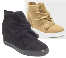 New Women Sneakers Hidden Wedge Trainers Hi Top Ankle Boots Shoes Knot Bow Suede