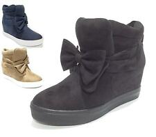 Ladies Womens Flat Casual Ankle Boots Hidden Wedge Hi Top Shoes Boots Size 3-8