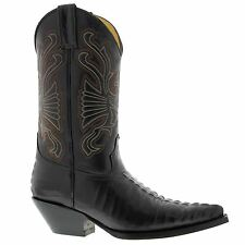 Grinders Carolina Dark Brown Mens Crocodile Tail Western Cowboy Boots New