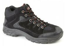 ONTARIO Mens Lace Up Scuff Cap Padded Trail Trek Hiking Mid Ankle Boots Black