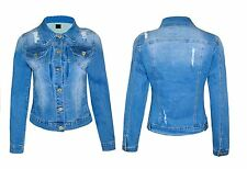 Womens Vintage Ripped Jacket Distressed Ladies Denim Outerwear Coat Jeans