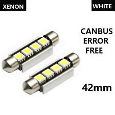 2x 42mm 4SMD LED CANBUS ERROR FREE INTERIOR HID UPGRADE WHITE BLUE RED GREEN 12V