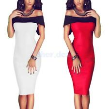 Sexy Woman Off Shoulder Midi Stretch Bodycon Pencil Party Dress Kleid Sommer