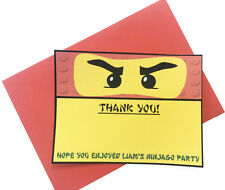 Personalised LEGO NINJAGO Birthday Party Thank You Cards with Red Envelopes