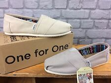 TOMS LADIES CLASSIC CANVAS LIGHT GREY FLATS CASUAL SUMMER BEACH ALL SIZES