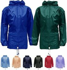 New Mens Womens Unisex Plus Size Hooded Kagool Lightweight Rain Coat Jacket