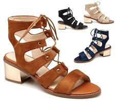 WOMENS LADIES MID BLOCK HEEL SANDALS LACE UP CUT OUT SHOES ANKLE STRAP SIZE 3-8