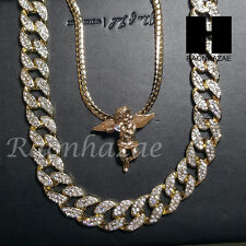 "Iced out 14k Gold PT Angel 5mm Miami Cuban Chain /30"" Iced Out Chain Necklace S4"