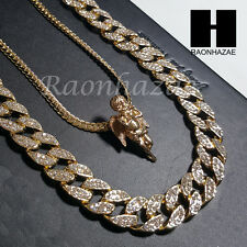 "Iced out 14k Gold PT Angel 5mm Miami Cuban Chain /30"" Iced Out Chain Necklace S5"