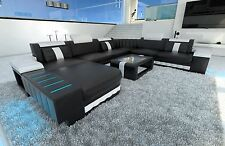 +++ GENUINE LEATHER SOFA DESIGNER Interior Bellagio XXL with LED Lighting