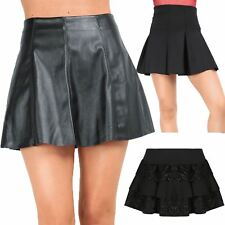 Ladies Women High Waist Fau Leather Skater A-line Pleated Frill Lace Short Skirt