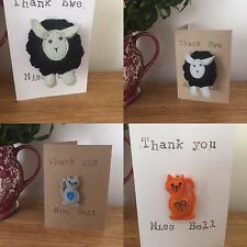 Personalised Teacher Thank You Card with Sheep keyring or Cat Brooch