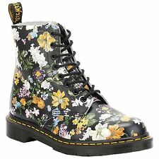 Dr.Martens Pascal Darcy Floral  Black Womens Lace Up Boots Backhand Leather