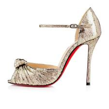 Christian Louboutin MARCHAVEKEL Knotted Metallic Leather Heels Sandal Shoes $945