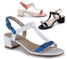 WOMENS BLOCK HEEL PEEP TOE BUCKLE SANDAL PARTY CASUAL LADIES ANKLE STRAP SHOES