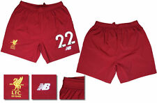 17 / 18 - NEW BALANCE ; LIVERPOOL HOME SHORTS / NUMBERED 22 = ADULTS SIZE*