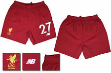 17 / 18 - NEW BALANCE ; LIVERPOOL HOME SHORTS / NUMBERED 27 = ADULTS SIZE*
