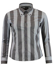 MADCAP ENGLAND WOMANS 1960S SUNFLOWER RETRO CANDY STRIPE SHIRT BLACK/GREY MC291
