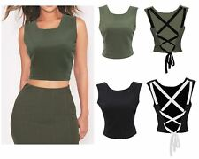New Womens Tie Lace Back Crop Top Lined Ladies Cami Blouse Eyelet