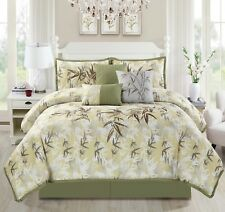 KAMA 7-piece Luxury Embroidery Bamboo Forest Bedding Comforter Set