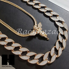"14k Gold PT Iced Out Angel 15mm Miami Cuban 30"" Iced Out Chain Necklace 139"