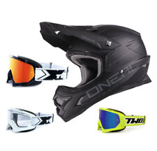 Oneal 3series CASCO CROSS FLAT NEGRO CON two-x Carrera Gafas Motocross Enduro