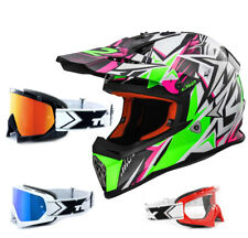 LS2 CASCO CROSS MX437 RÁPIDO Fuerte Blanco Verde Rosa enduro two-x Carrera Gafas