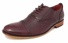 Boys Leather Lined Smart Lace Up Oxford Brogues Shoes OXBLOOD BURGUNDY 11-5.5