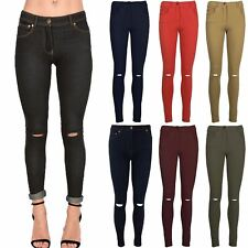 Womens Denim Knee Cut Out Stretchy Jean Look Ladies Zip Pocket Jeggings Leggings