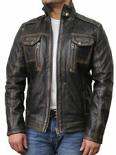 Vintage Mens Distressed Leather Jackets | Mens Distressed Leather Biker Jackets