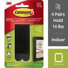 3M Command BLACK Large Adhesive Picture Poster Hanging Strips Damage Free Wall