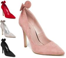 LADIES POINTED HIGH HEEL FAUX SUEDE SMART WORK PARTY COURT SHOES PUMPS SIZE