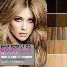 """Extensions 12"""" Clip In Remy Human Hair Extensions Full Head 8 piece"""