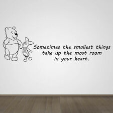 Winnie the Pooh Piglet Smallest Things Quote Vinyl Wall Art Sticker Silhouette