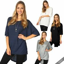 Womens Oversized Baggy Shiny Ladies Long Batwing Sleeve Tunic Top T Shirt Blouse