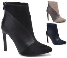 WOMENS POINTED TOE HIGH HEEL STILETTO FAUX SUEDE / LEATHER ANKLE BOOTS SIZE 3-8