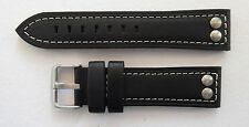 RIVETED WATCH STRAP BLACK / WHITE STITCHING 22MM-24MM  U BOAT/TW STEEL/PANERAI