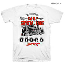 Official White T Shirt FRIDAY 13th Slasher Horror CAMP Crystal Lake All Sizes