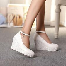 Womens Ladies Platform Wedge High Heels Pumps Creepers Shoes Ankle Strap Casual